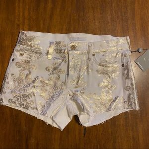 White shorts with gold damask print